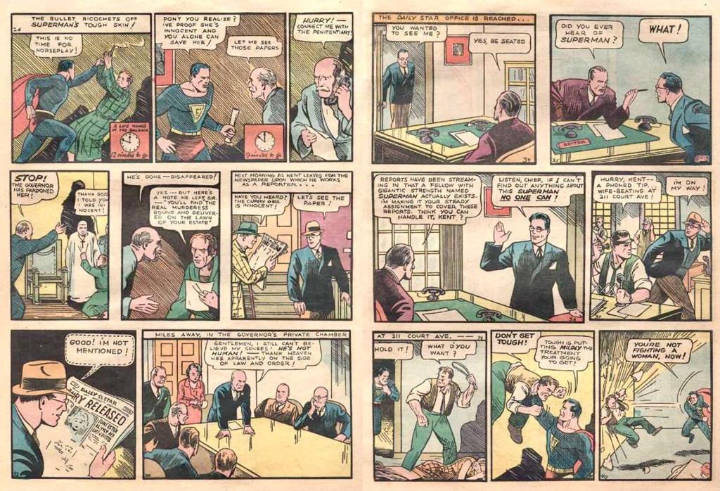 Stålmannens alter ego var Clark Kent, ett uppslag ur ActionComics #1 (1938). ©DC/National
