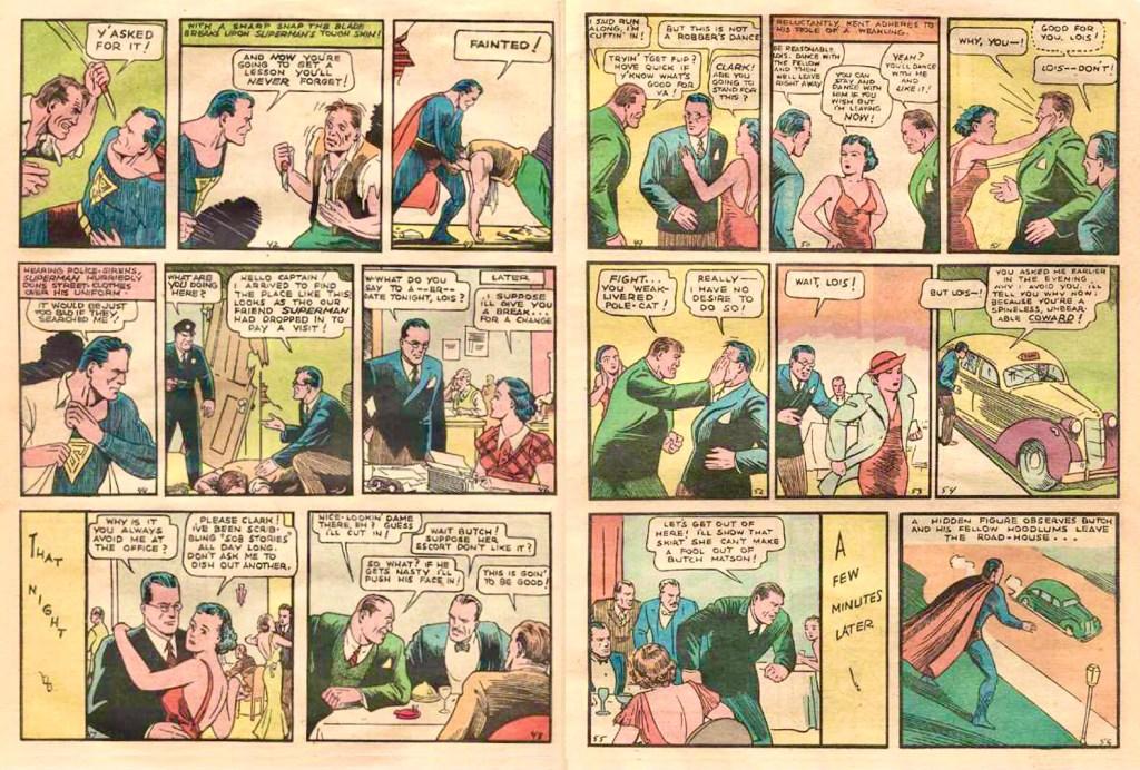 Clark Kent söker uppskattning från Lois Lane utan att få det, ett uppslag ur Action Comics #1 (1938). ©DC/National