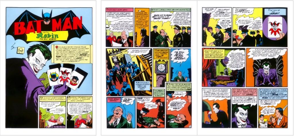 Inledande sidor till en serie med Joker ur Batman #1 (1940). ©Detective Comics