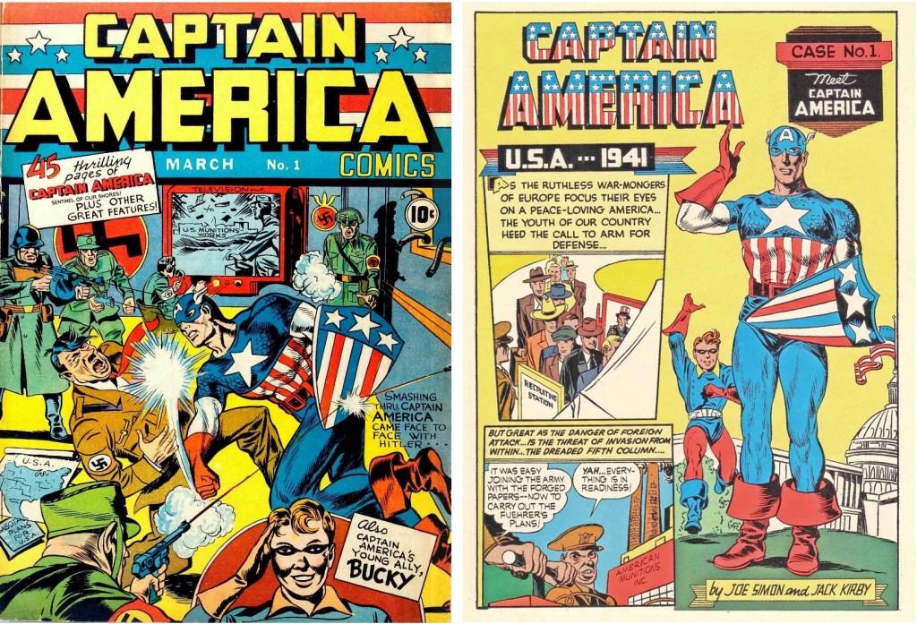 Omslag till Captain America Comics #1 (1941) och inledande sida till Captain America av Jack Kirby (skiss) och Joe Simon (tusch). ©Timely