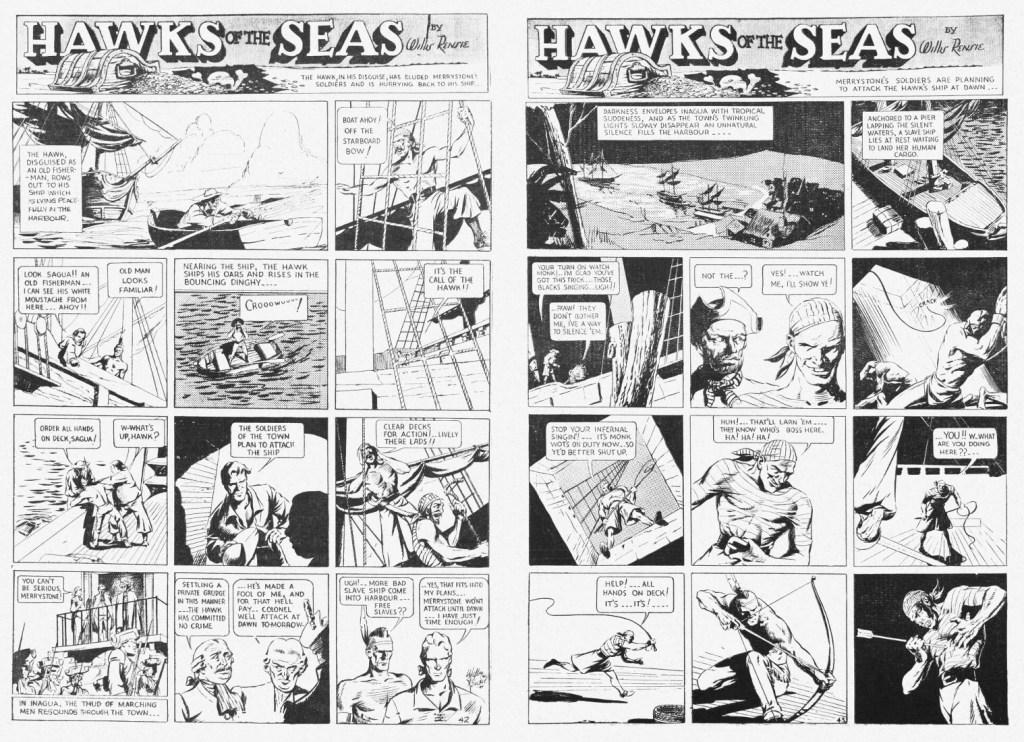 Ett uppslag med Hawks of the Seas ur Jumbo Comics #1 (1938). ©Fiction House/RAP