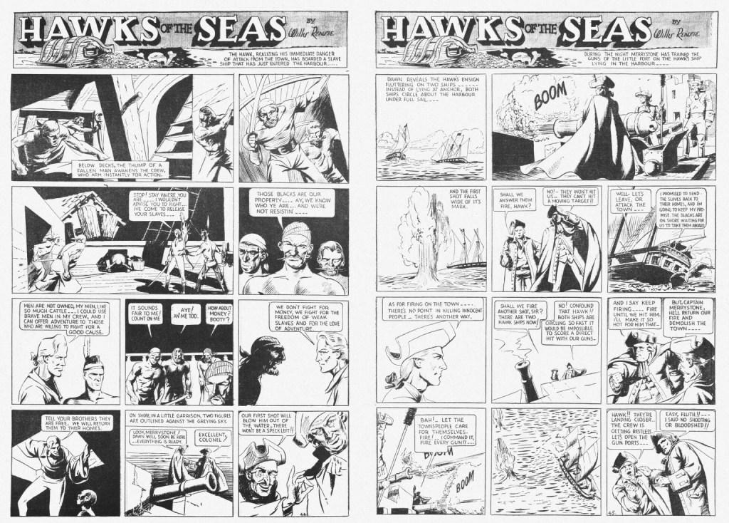 Avslutande uppslag med Hawks of the Seas ur Jumbo Comics #1 (1938). ©Fiction House/RAP