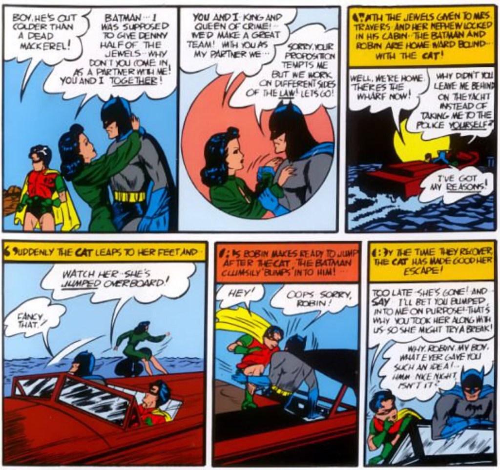 I Batman #1 (1940) träffar Batman och Robin också på The Cat, som senare kommer att kallas Catwoman. ©Detective Comics