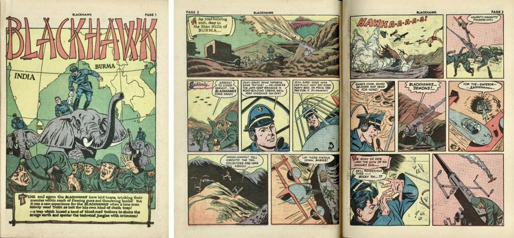 Blackhawk (Höken) hade många krigsinspirerade serier, som denna episod ur Blackhawk #9 (1944). ©Quality/Comic Magazines
