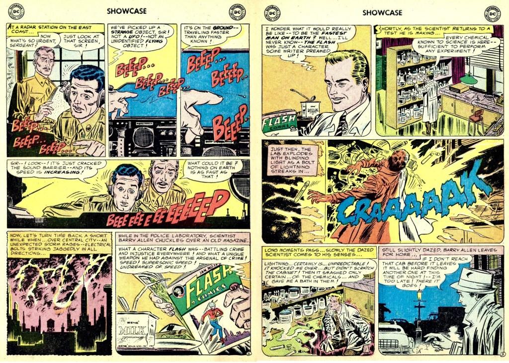 Ett uppslag med The Flash ur Showcase #4 (1956). ©DC/National