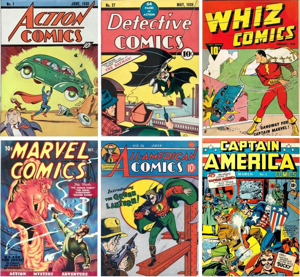 I slutet av 30-talet och början av 40-talet växte det fram en amerikansk serietidningsindustri, som kommit att kallas serietidningarnas guldålder. ©DC/National/Fawcett/Timely