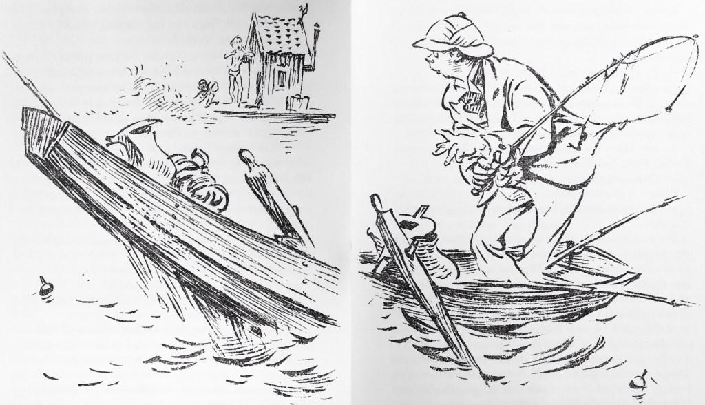 —Ser du den där väskan, sa Rustan. Den är full med pengar. Jag lägger den i din fiskkorg så ingen ser den. Ro hem mesamma och lämna den till polisen! Vi kommer efter! Skynda dig!