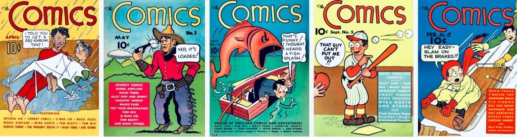Comics från Dell utkom med 11 nummer 1937-39, och Wash Tubbs/Captain Easy förekom på omslaget de första sex numren. ©Dell