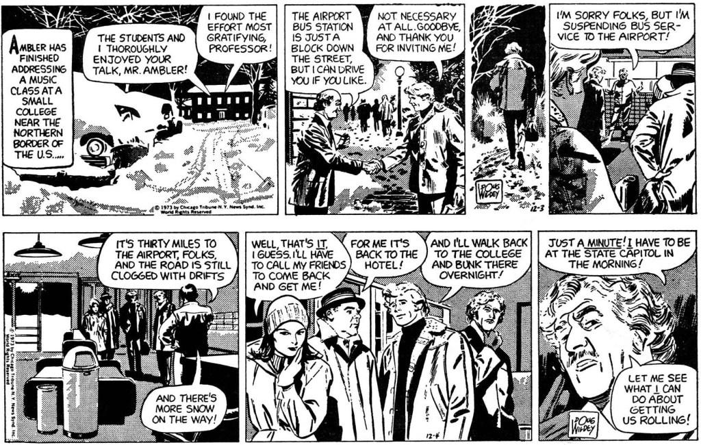 Ambler av Doug Wildey: Inledande två dagsstrippar ur episoden från 3-4 december 1973. ©CTNYNS