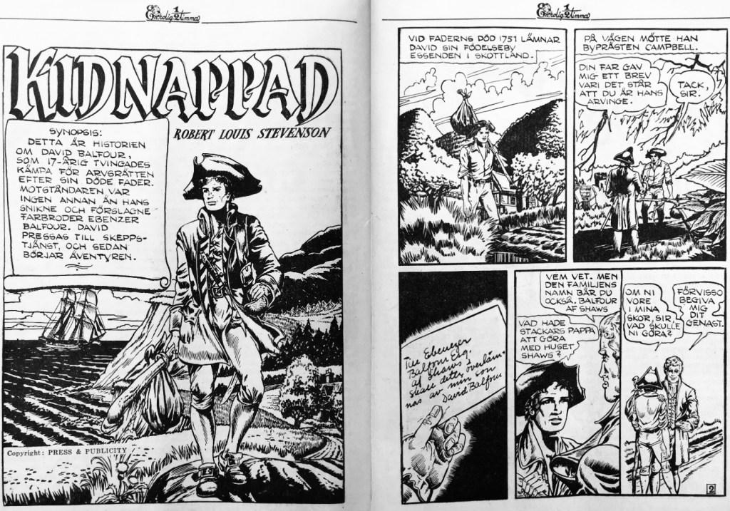 Ett inledande uppslag med Kidnappad, ur En rolig halvtimma nr 27, 1947. ©Press&Publicity