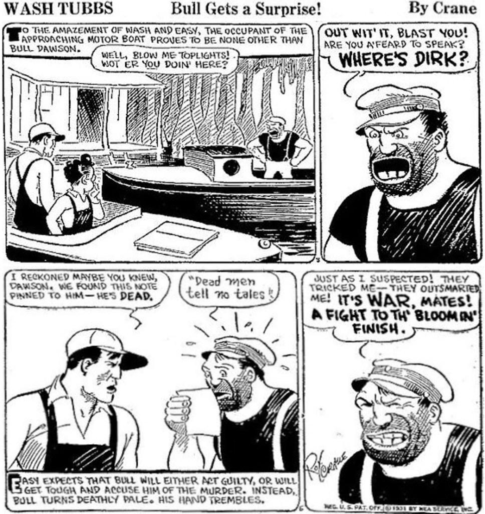 En dagsstripp från 8 maj 1931 med den första icke-komiska skurken i tecknade serier, Bull Dawson. ©NEA