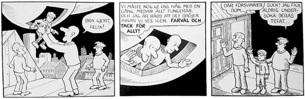Lööf tecknade en ny avslutning speciellt för albumet som ersättning för stripp 67-4. ©PIB