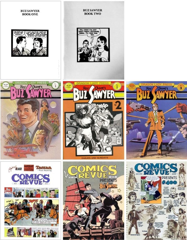 Comics Art Showcase #5 och #6 (1980), Buz Sawyer Quarterly #1-3 (1986-87) och Comics Revue #234 (2006), #293-294 (2010) och #399-400 (2019). ©Quality Comic Art/Dragon Lady/Manuscript