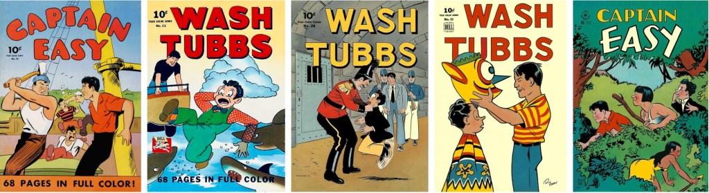 Omslag till FCC #24 (1942), #11 (1942), #28 (1943), #53 (1944) och #111 (1946). ©Dell