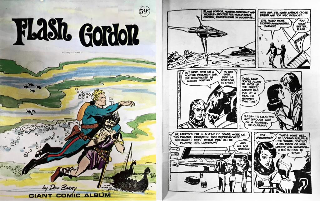Omslag och inledande sida ur Flash Gordon Giant Comic Album (1972). ©Modern Promotions