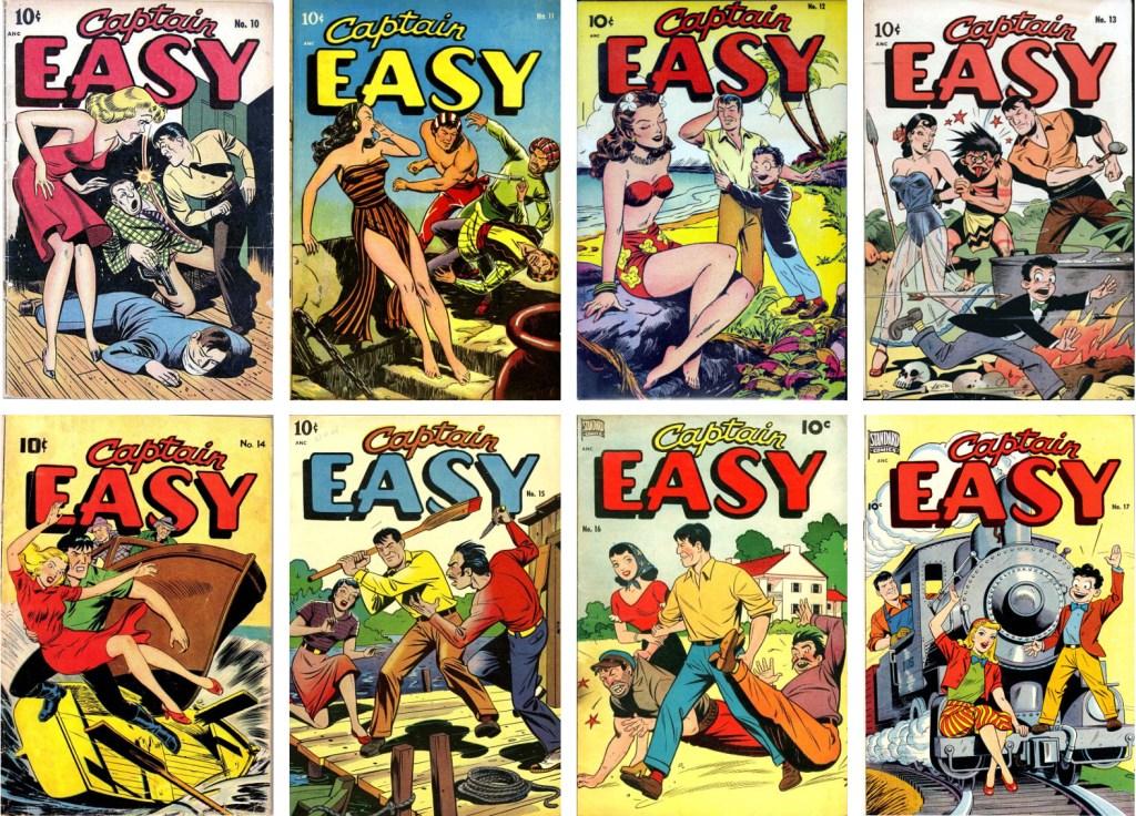 Omslag till åtta nummer med Captain Easy (1947-48). ©Pines