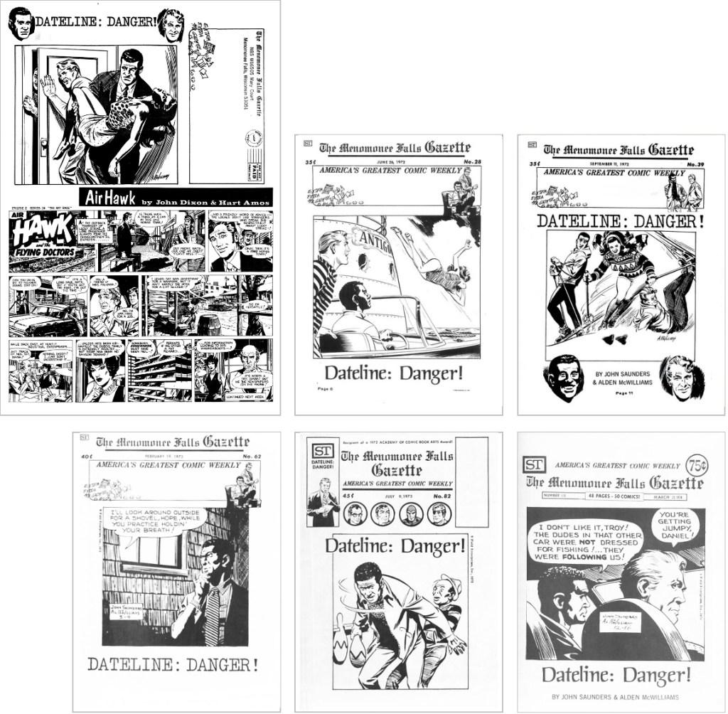 Dateline: Danger! fanns med på omslaget till MFG #7, #28, #39, #62, #82 och #119. ©Street Enterprises