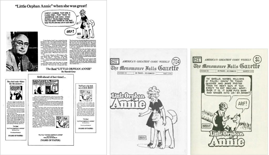 Reklammaterial om Little Orphan Annie fanns med i MFG #125, och serien var på omslaget till MFG #126 och #169. ©Street Enterprises