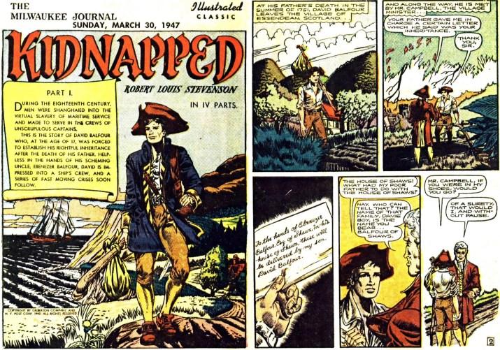 Motsvarande sidor i original, ur seriebilagan Illustrated Classic från 30 mars 1947. ©Gilberton