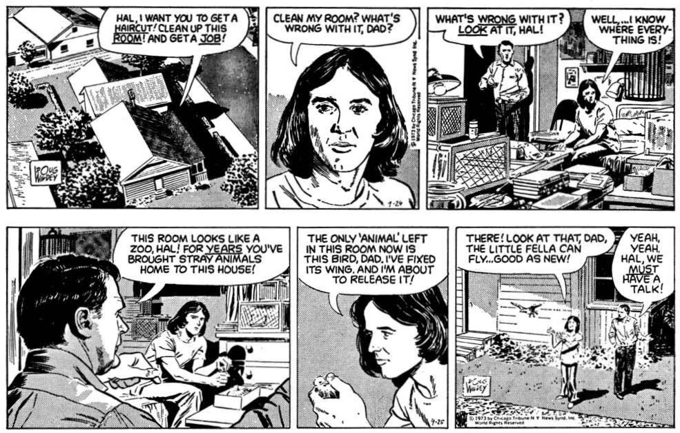 Ambler av Doug Wildey: Inledande två dagsstrippar ur episoden från 24-25 september 1973. ©CTNYNS