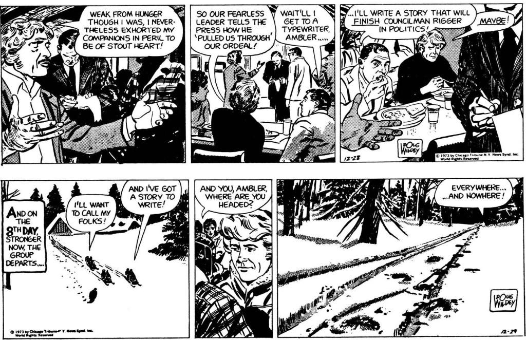 Avslutande två dagsstrippar från 28-29 december 1973. ©CTNYNS