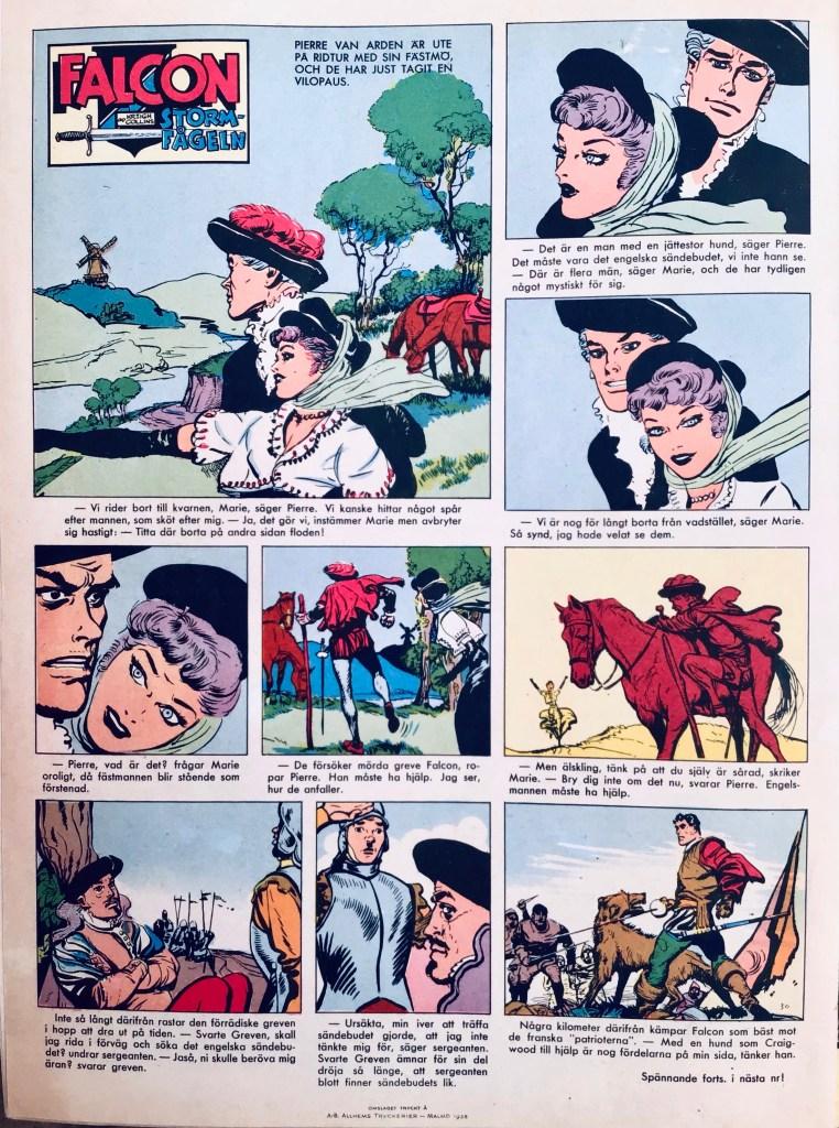 Baksidan av Allas Veckotidning nr 30, 1958 pryddes av Falcon Stormfågeln i färg. ©PIB