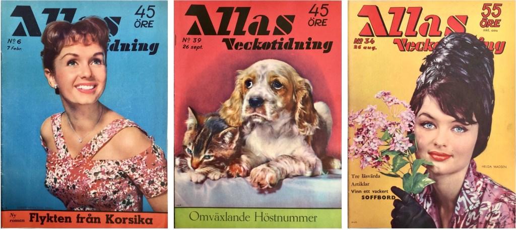Omslag till Allas Veckotidning nr 6 och 39, 1958 och nr 34, 1960. ©Allhem