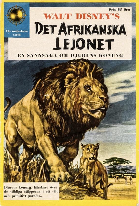 Omslag till Walt Disney's Det afrikanska lejonet. ©Richters/Disney