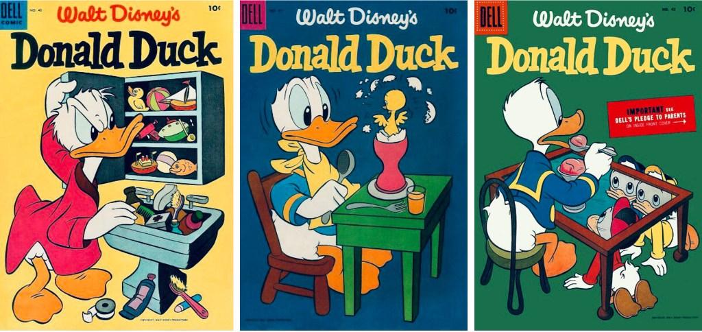 Omslag till Walt Disney's Donald Duck #40, #41 och #43 (1955). ©Dell/Disney