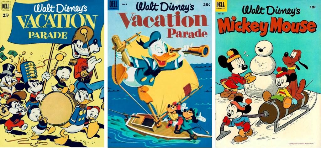 Omslag till Vacation Parade #2 (1951), #4 (1953) och Mickey Mouse #29. ©Dell/Disney