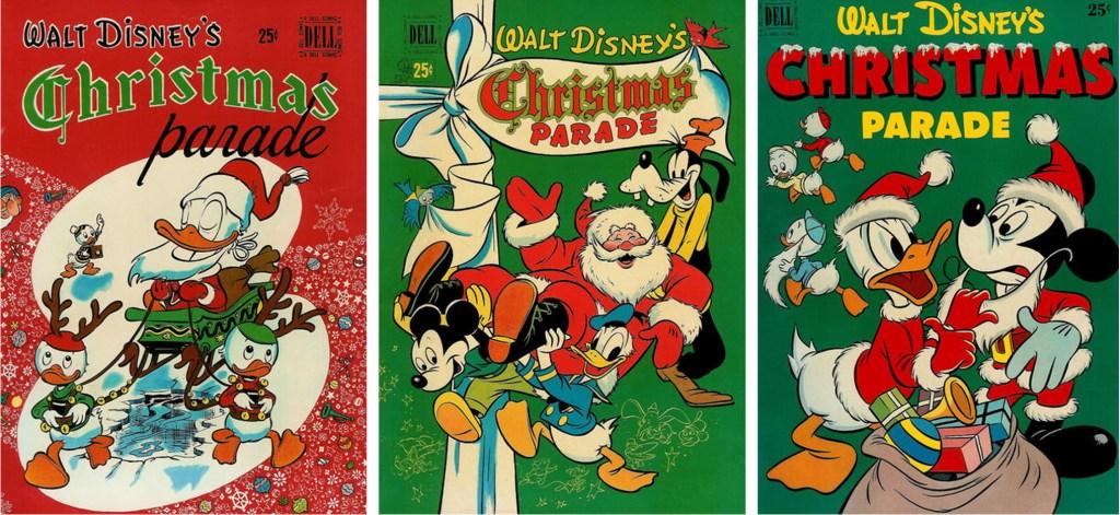 Omslag till Christmas Parade #1, #2 och #3 (1949-51). ©Dell/Disney