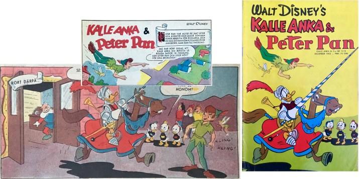 Omslaget till Kalle Anka & C:o nr 12B/53 baserar sig på ett par serierutor från första och tionde sidorna i äventyret. ©Disney