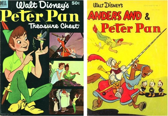 Omslag till Peter Pan Treasure Chest #1 (1952) och Solo-hæfte nr 7 (1953). ©Dell/Disney/Gutenberghus