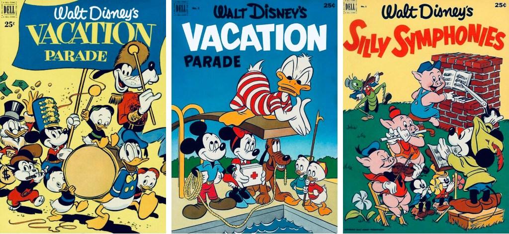 Omslag till Vacation Parade #2 och #3 (1951-52), och Silly Symphonies #1 (1952). ©Dell/Disney