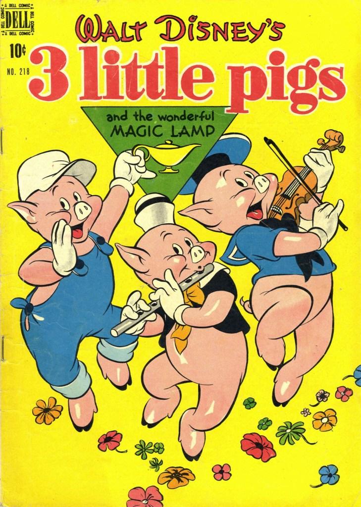 Omslag till Four Color Comic #218 (1949), 3 Little Pigs. ©Dell/Disney