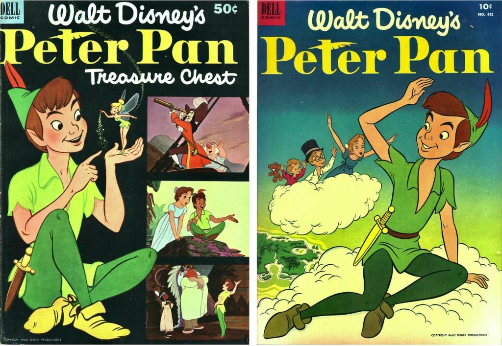 Omslag till Peter Pan Treasure Chest #1 (1952) och Four Color Comic #442 (1952). ©Dell/Disney