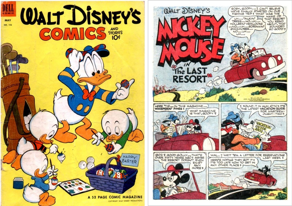 Omslag till Walt Disney's Comics and Stories #152 (1953), och inledande sida till Mickey Mouse in the Last Resort. ©Dell/Disney