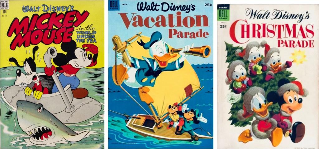 Omslag till Four Color Comic #194 (1948), Vacation Parade #4 (1953) och Christmas Parade #6 (1954). ©Dell/Disney