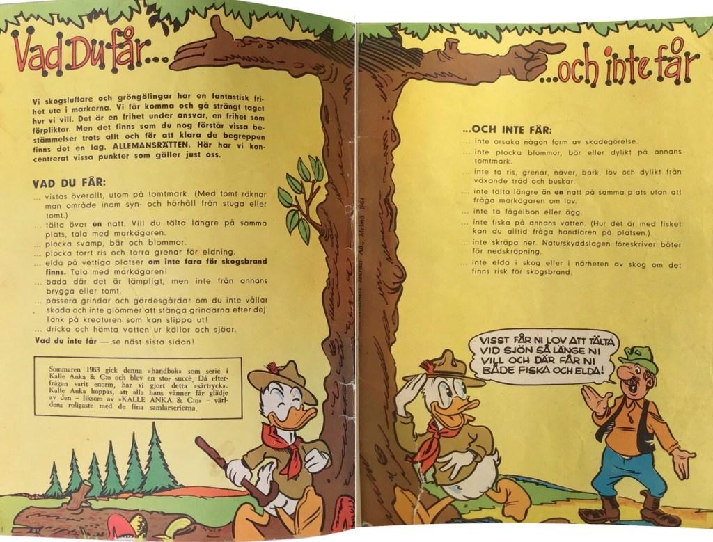 Omslagets insidor ur Gröngölingens handbok: Vad du får…, …och inte får. ©Hemmets Journal