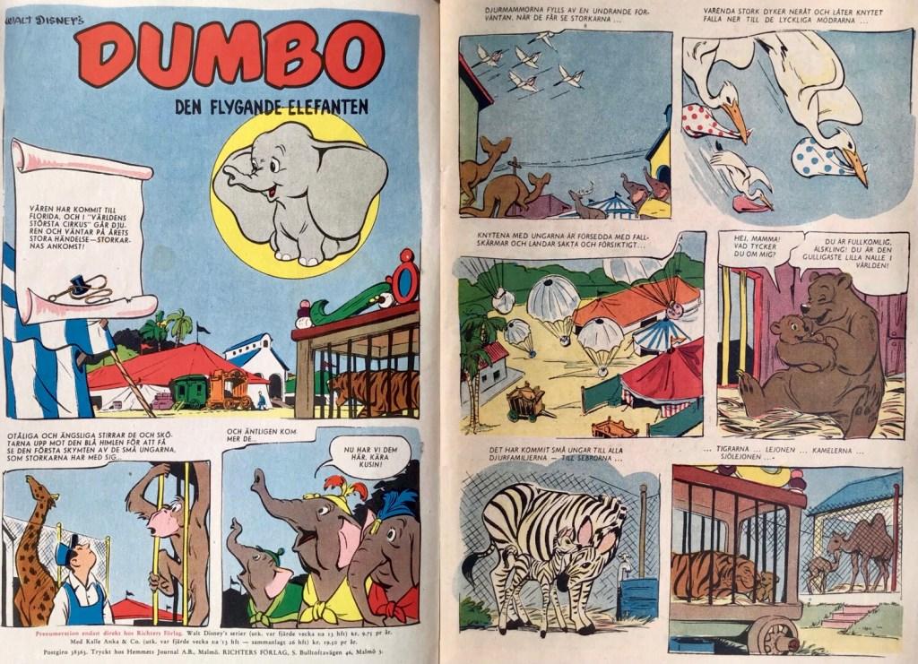 Inledande uppslag ur Dumbo. ©Disney