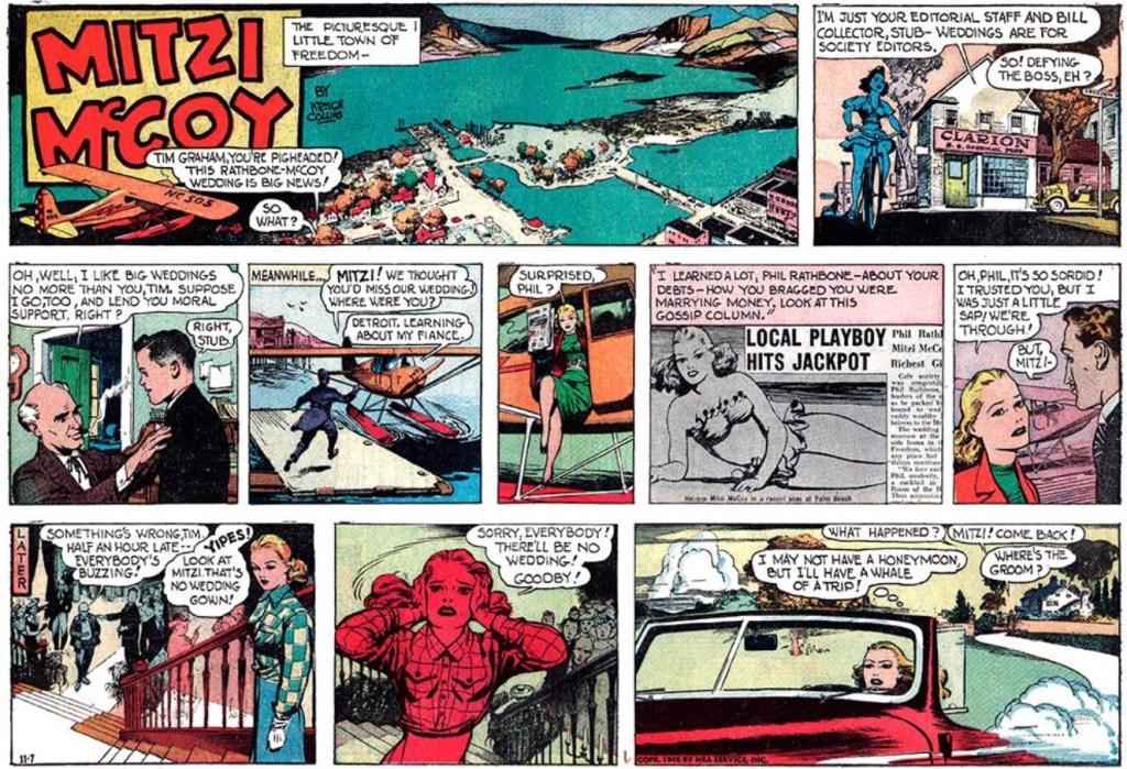 Första söndagsstrippen med Mitzi McCoy från 7 november 1948. ©NEA/Picture This Press
