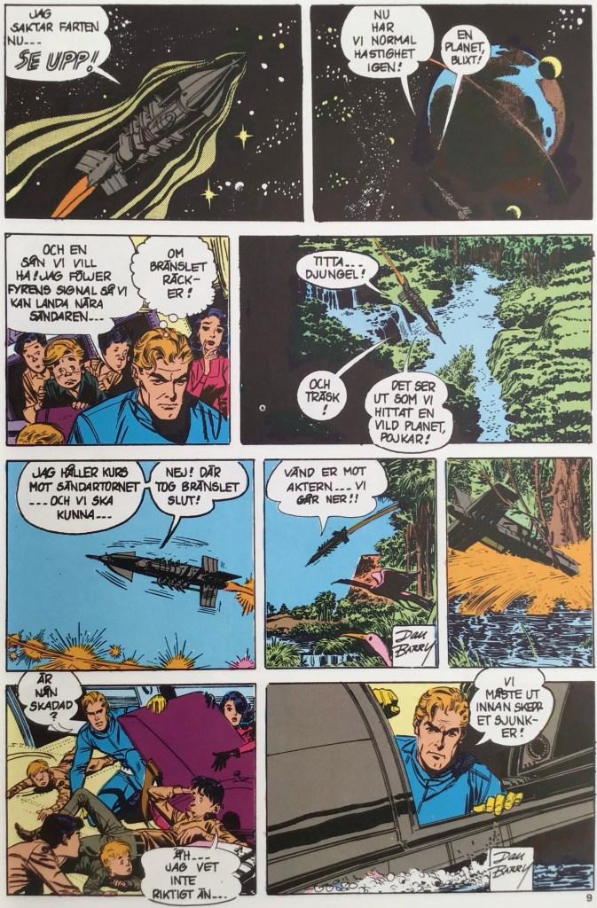En händelserik sida ur Roboten från rymden (1980). ©Bulls