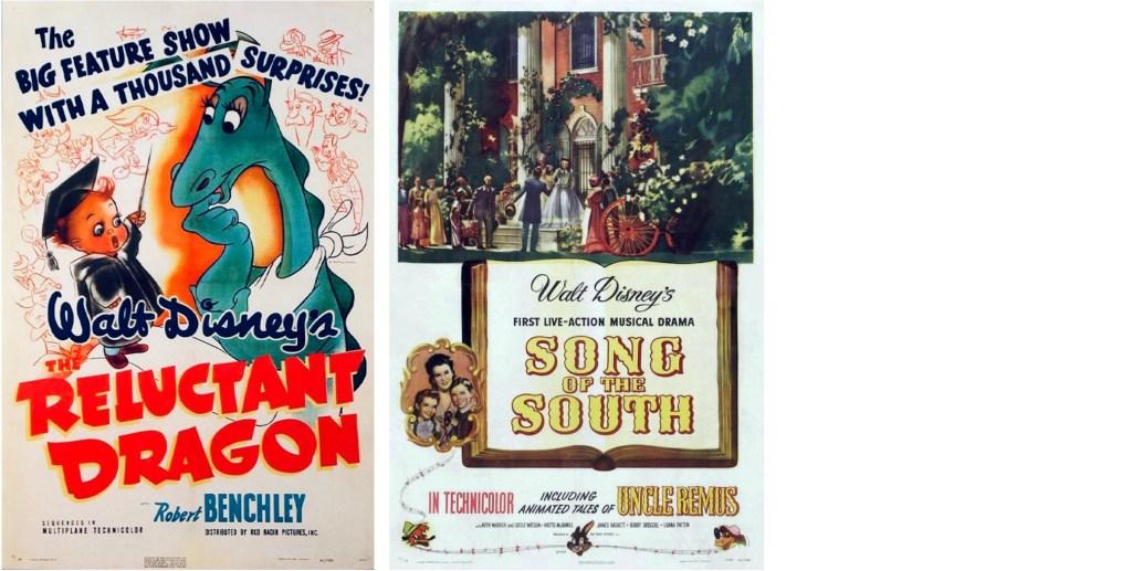 Filmaffischer från The Reluctant Dragon (1941), och Song of the South (1946). ©RKO/Disney