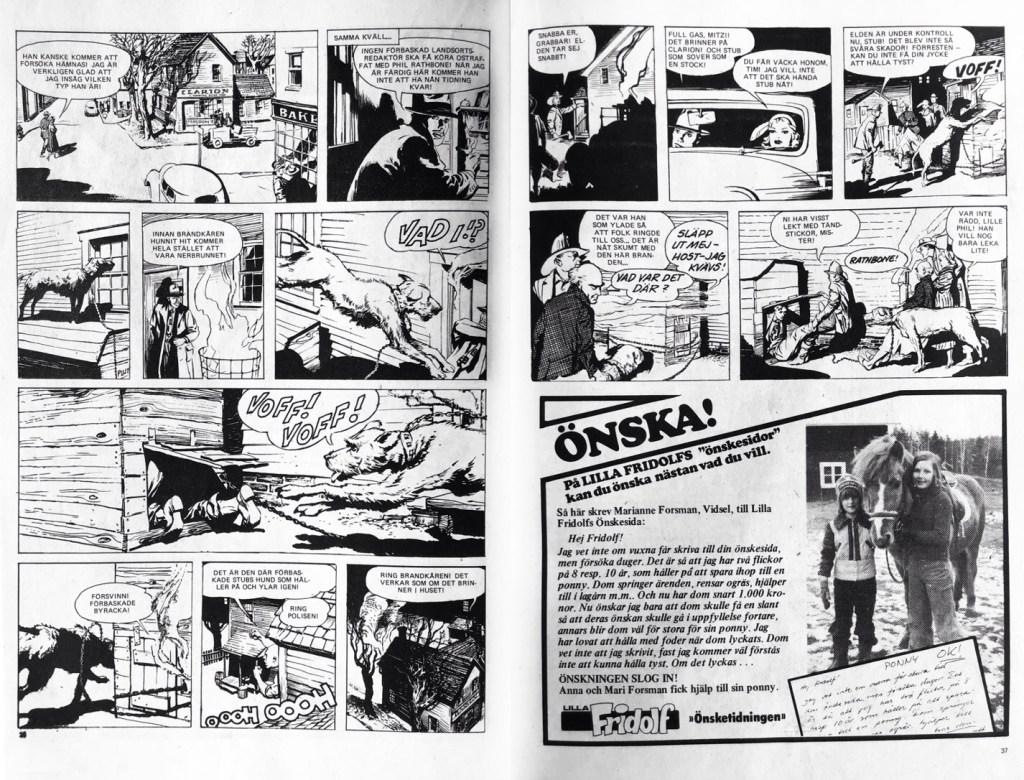 Avslutande uppslag med Mitzi McCoy i Seriemagasinet nr 13, 1977. ©NEA