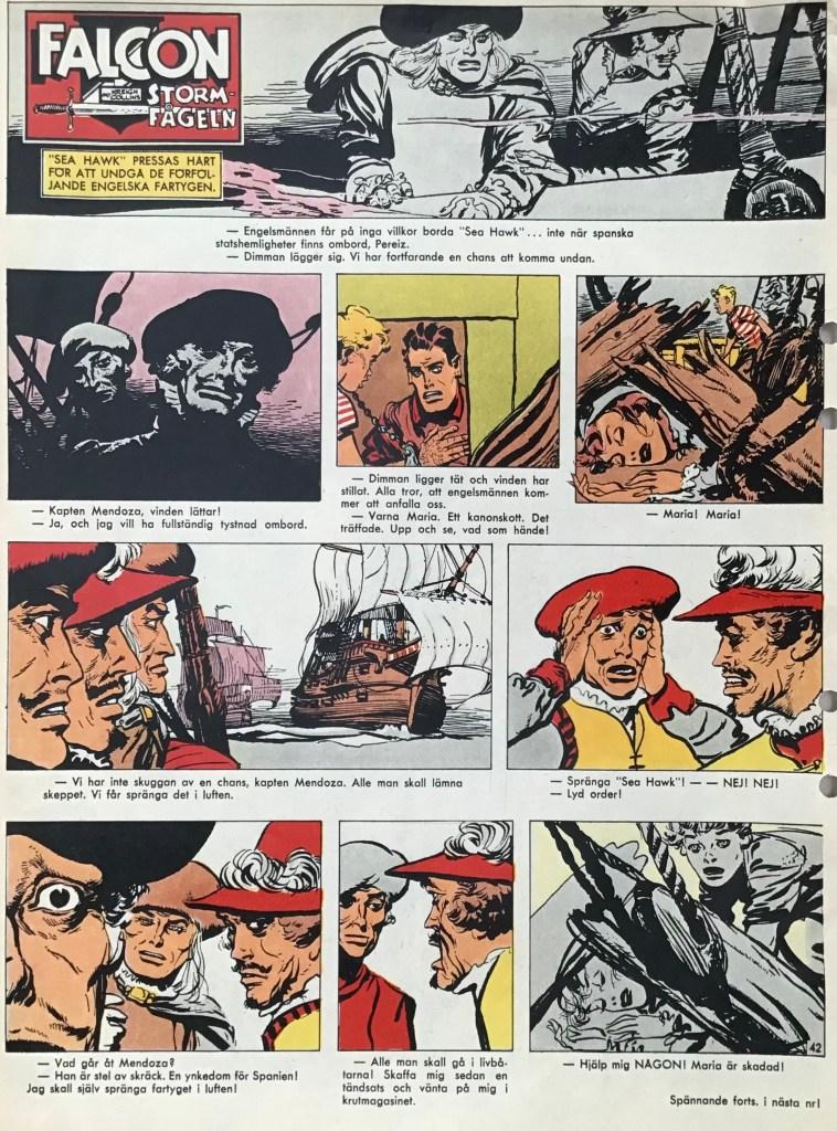 En sida med Falcon Stormfågen ur Allas nr 8, 1965. ©PIB