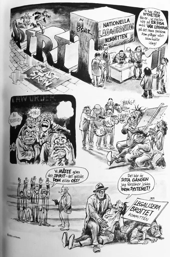 En sida ur Spirit 3 med Nationella Lag & Ordning-kommittén. ©Eisner