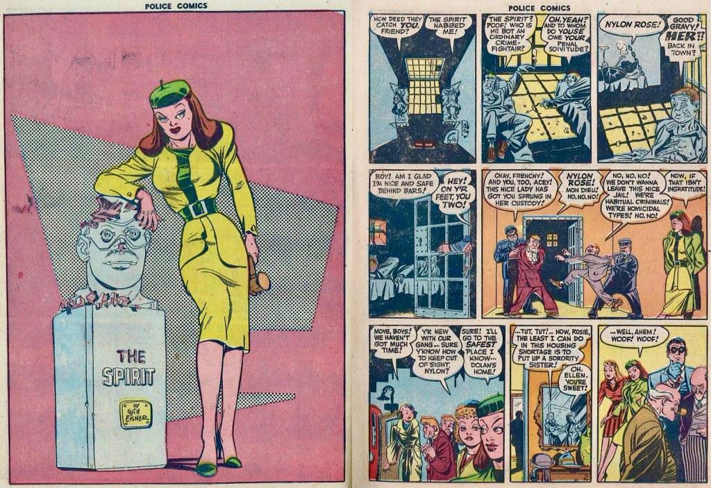 Inledande uppslag ur Police Comics #98 (1950). ©Eisner