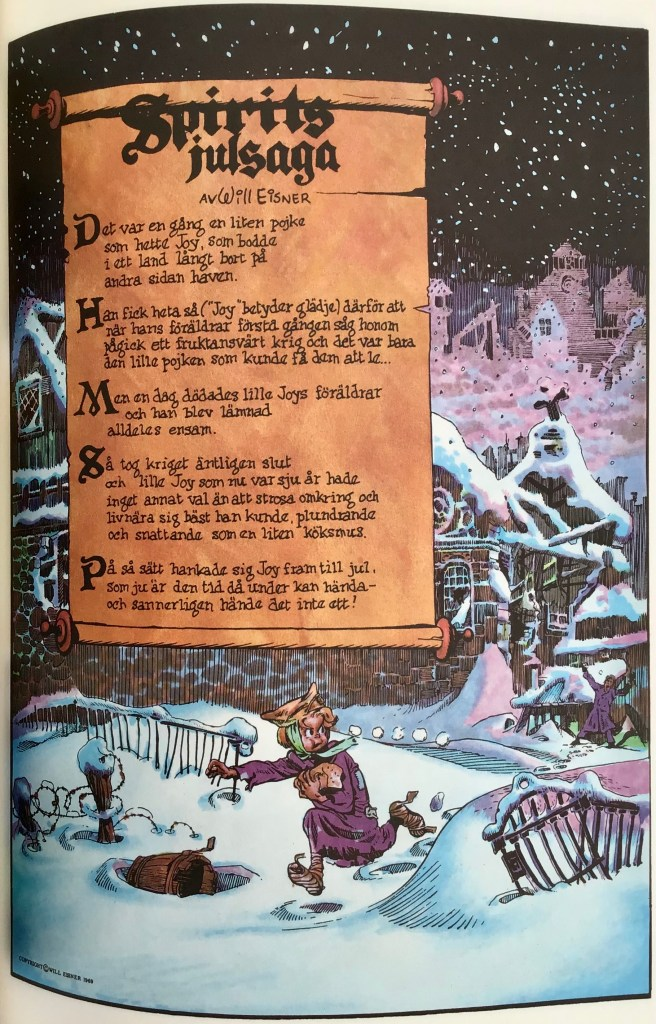 Inledande sida ur episoden Spirits julsaga (1947) i Spirit 3. ©Eisner