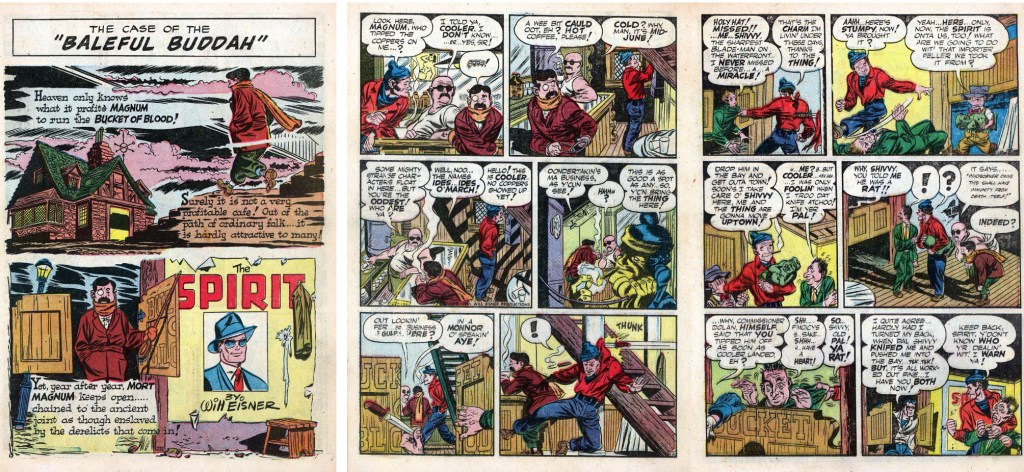 Inledande sidor i original, ur Spirit #2 från Fiction House. ©Register&Tribune