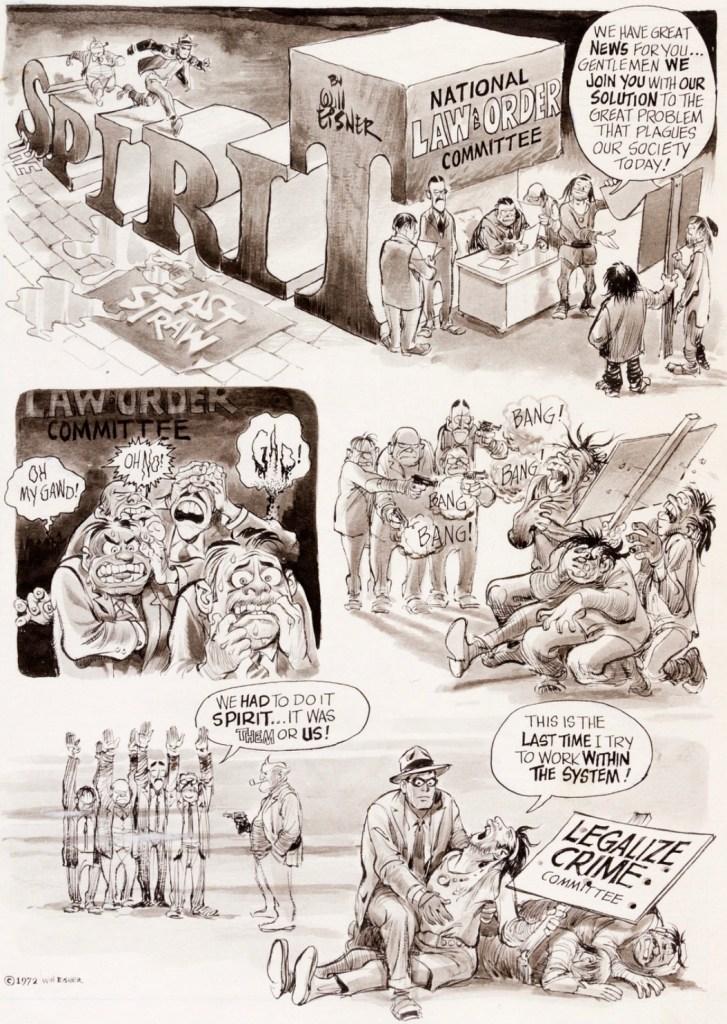 Original till motsvarande sida, ur The Spirit #1 (1973). ©Kitchen Sink/Eisner
